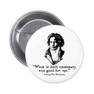 Beethoven - vino pin redondo de 2 pulgadas