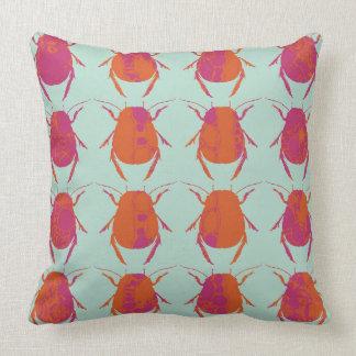 Beetle / Bug Blue Pink Print Cushion Pillow