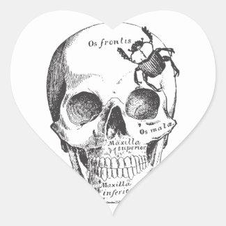 Beetle on a Skull Heart Sticker