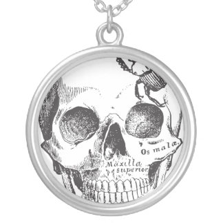 Beetle on a Skull Round Pendant Necklace