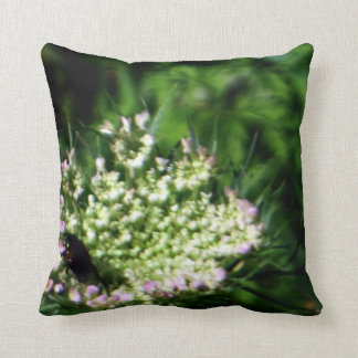 Beetle Resting White Wildflower Greens Throw Pillows