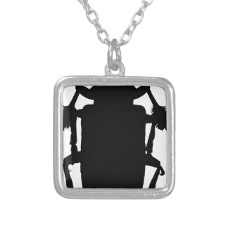 Beetle Silhouette Silver Plated Necklace