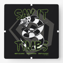 Beetlejuice   Say It 3 Times Square Wall Clock