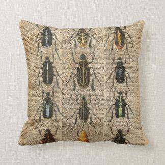 Beetles Bugs Zoology Vintage Illustration Art Throw Pillow