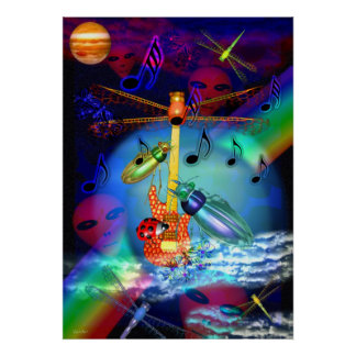Beetles play dragonfly guitar posters