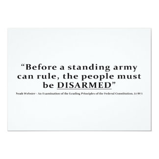 """Before an army can rule people must be DISARMED 5"""" X 7"""" Invitation Card"""