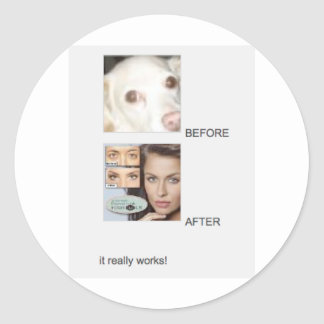 BEFORE AND AFTER - IT REALLY WORKS! CLASSIC ROUND STICKER