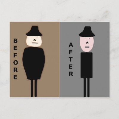Before and After Weight Loss Congratulations Men Postcards by RickMac