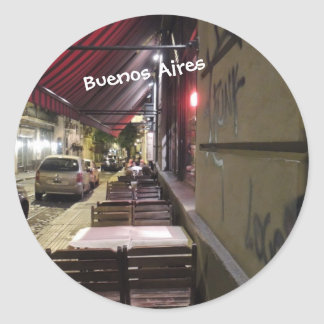 Before Dinner Hour-Sidewalk Cafe in Buenos Aires Classic Round Sticker