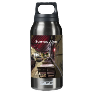 Before Dinner Hour-Sidewalk Cafe in Buenos Aires Insulated Water Bottle