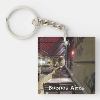 Before Dinner Hour-Sidewalk Cafe in Buenos Aires Keychain