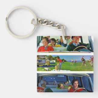 Before, During & After Picnic Double-Sided Square Acrylic Keychain