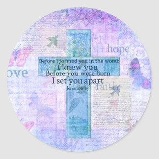 Before I formed you in the womb Jeremiah 1:5 Bible Classic Round Sticker