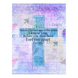 Before I formed you in the womb Jeremiah 1:5 Bible Postcard