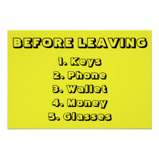 Before Leaving The House Checklist Poster