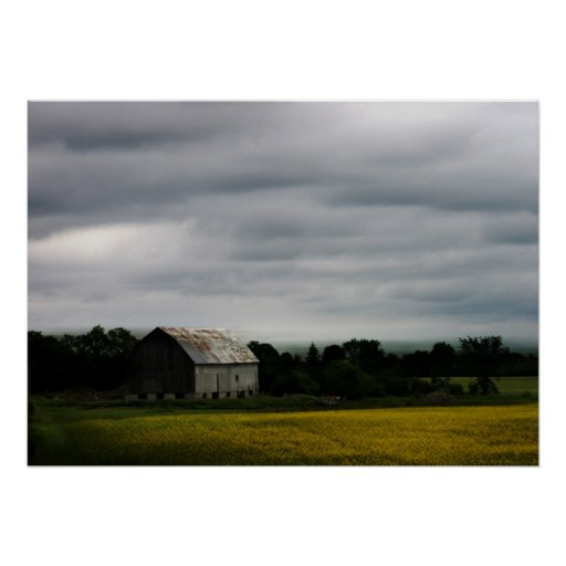 Before storm,  barn in the farm field poster