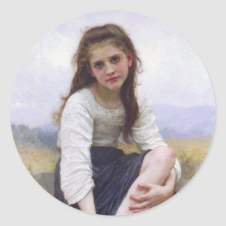 Before The Bath by William Bougereau Classic Round Sticker