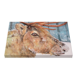 Before The Dusk. Reindeer in snow. Box canvas