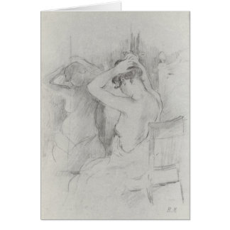 Before the mirror by Berthe Morisot Greeting Card