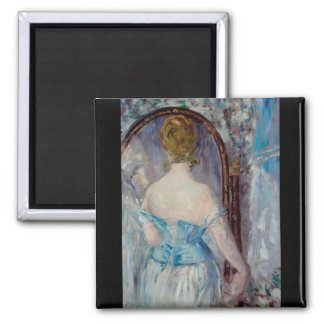 Before the Mirror by Edouard Manet 2 Inch Square Magnet