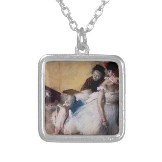 Before the Rehearsal by Edgar Degas Silver Plated Necklace