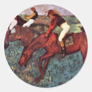 Before The Start (During Training Jockeys) Classic Round Sticker