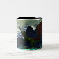 monsters, dinosaurs, before, storm, mug, dragon, dragons, fantasy, boat, boats, ships, ship, water, wave, waves, mountain, mountains, medievil, scenery, landscape, landscapes, drake, creature, creatures, fling, fly, wings, wing, Caneca com design gráfico personalizado