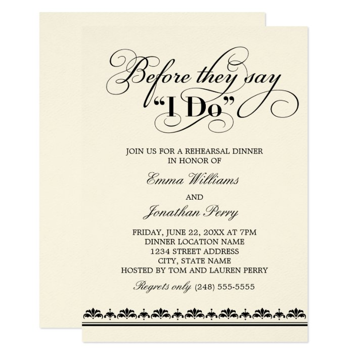 Before They Say I Do | Black Vows Rehearsal Dinner Invitation ...