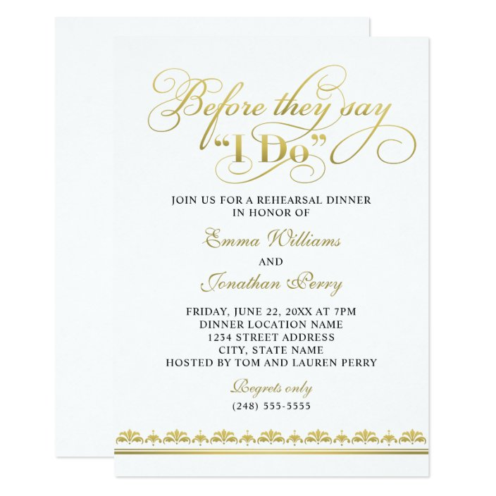 Before They Say I Do | Gold Vows Rehearsal Dinner Invitation ...