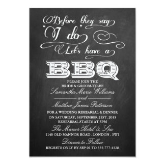 Before They Say I Do Lets Have A BBQ! - Chalkboard 5x7 Paper Invitation Card
