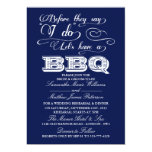 Before They Say I Do Lets Have A BBQ! - Navy Blue 5x7 Paper Invitation Card