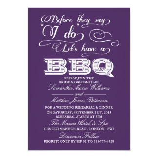 Before They Say I Do Lets Have A BBQ! - Purple 5x7 Paper Invitation Card