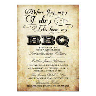 Before They Say I Do Lets Have A BBQ! - Vintage 5x7 Paper Invitation Card