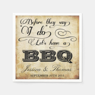 Before They Say I Do Lets Have A BBQ! - Vintage Paper Napkin