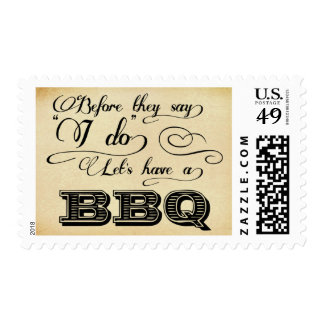 Before They Say I Do Lets Have A BBQ! -Vintage Postage Stamp
