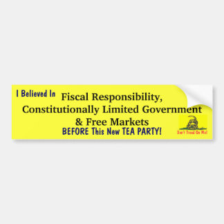 BEFORE This New TEA PARTY Bumper Sticker