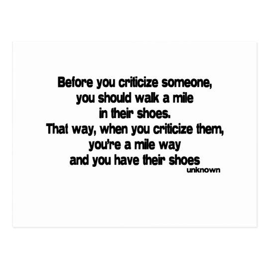 Before You Criticize quote Postcard