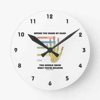 Before You Shake My Hand Know What You're Holding Round Wall Clock