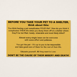 Before You Take Your Pet To A Shelter cards