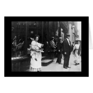 Beggar Woman on Broadway in New York City 1909 Card