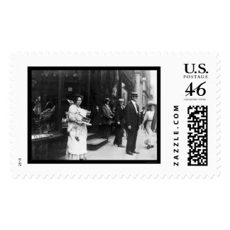 Beggar Woman on Broadway in New York City 1909 Stamp