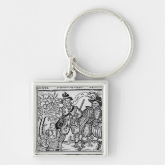 Beggars All Silver-Colored Square Keychain