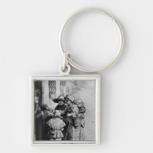Beggars on the Doorstep of a House, 1648 Silver-Colored Square Keychain