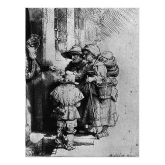 Beggars on the Doorstep of a House, 1648 Postcard