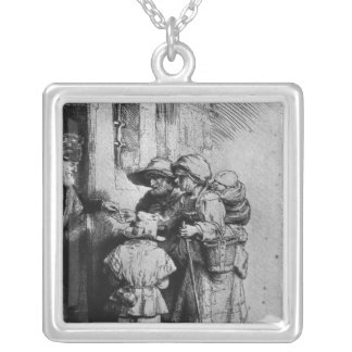 Beggars on the Doorstep of a House, 1648 Square Pendant Necklace