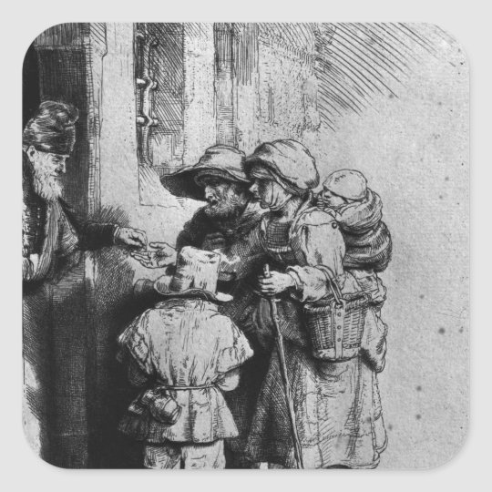 Beggars on the Doorstep of a House, 1648 Square Sticker