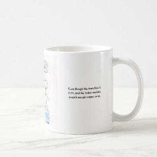 Begging at stations coffee mug