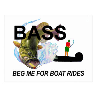 begging bass postcard