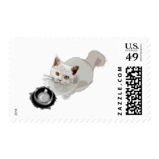 Begging Cat with Empty Food Bowl Postage