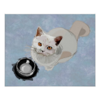 Begging Cat with Empty Food Bowl Print